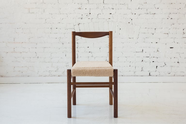 American Wood Range Dining Chair in Walnut and Shearling by Fort Standard, In Stock For Sale
