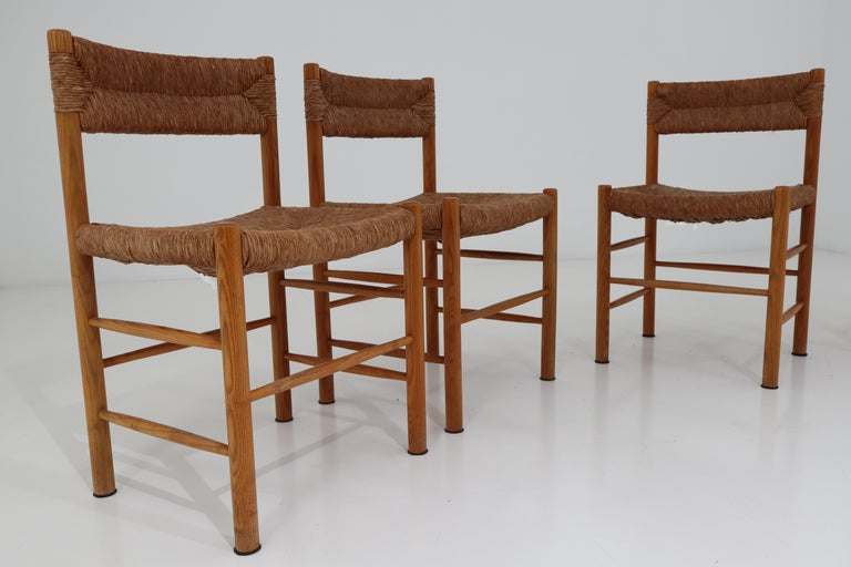 "Mid-Century Modern Four ""Dordogne"" Chairs by Charlotte Perriand for Robert Sentou For Sale"