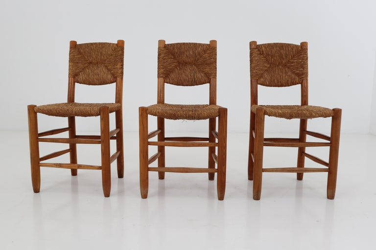 "Mid-Century Modern Three ""Bauche"" Chairs by Charlotte Perriand for Steph Simon, France 1950s For Sale"