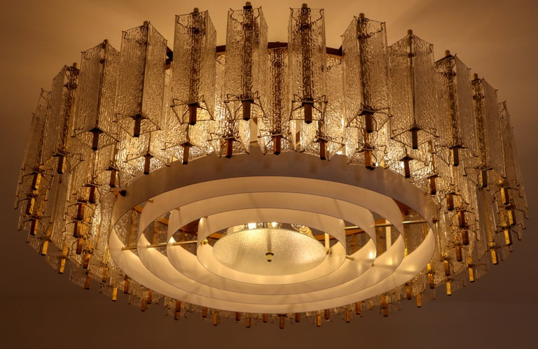 Mid-Century Modern Three Extra Large Midcentury Chandeliers in Structured Glass and Brass, Europe For Sale