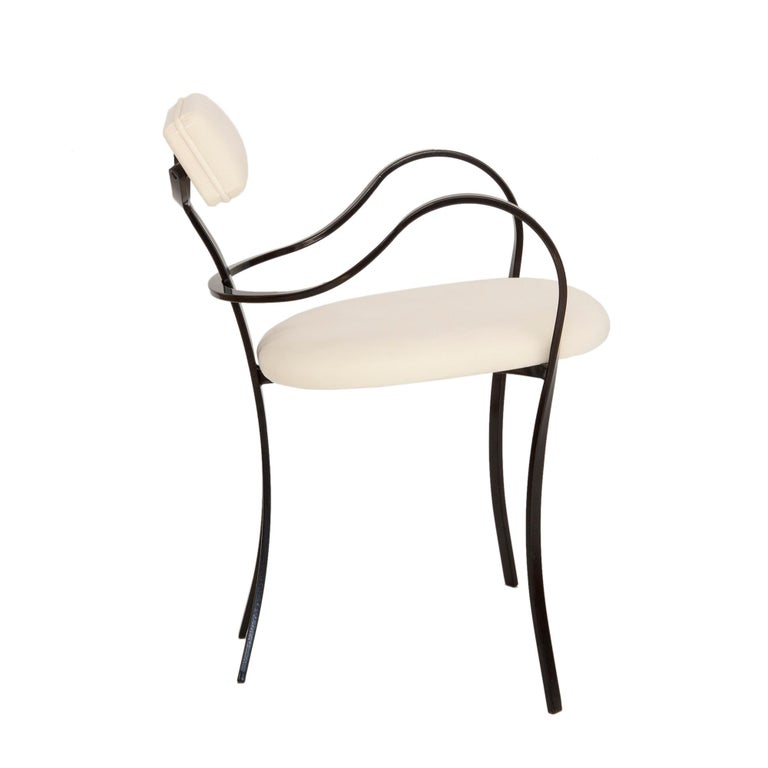 Mid-Century Modern Contemporary Violet Chair with Velvet Seat and Seatback in White Color For Sale