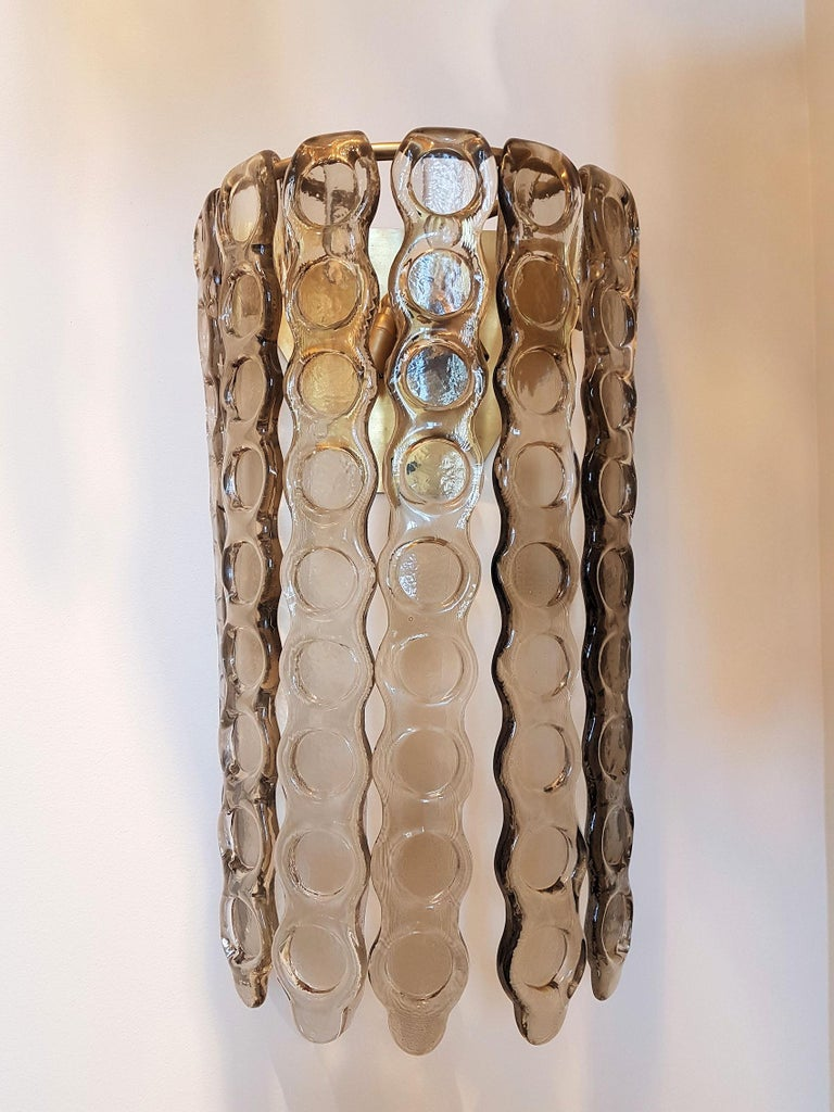 Italian Pair of Murano Smoked Glass Sconces, Mazzega Style, Mid-Century Modern, 1970s For Sale