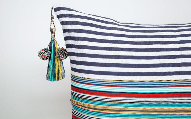 Mexican Handwoven Fine Cotton Pillow Grey Stripes & MultiColor Trim with Tassel In Stock For Sale