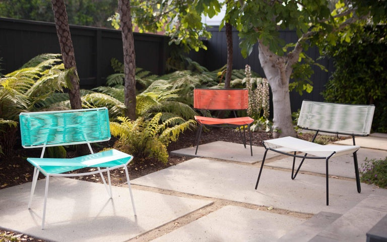 Galvanized Handmade Midcentury Style Outdoor Lounge Chair, Charcoal with Coral PVC in Stock