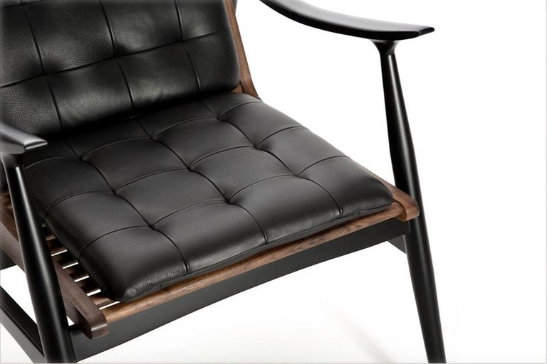 Mid-Century Modern Atra Armchair, Walnut and Mahogany with Leather Pads by Atra For Sale