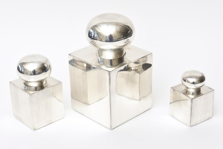 Modern Set of 3 Italian Vintage Silver-Plate Square Sculptural Boxes / Objects For Sale