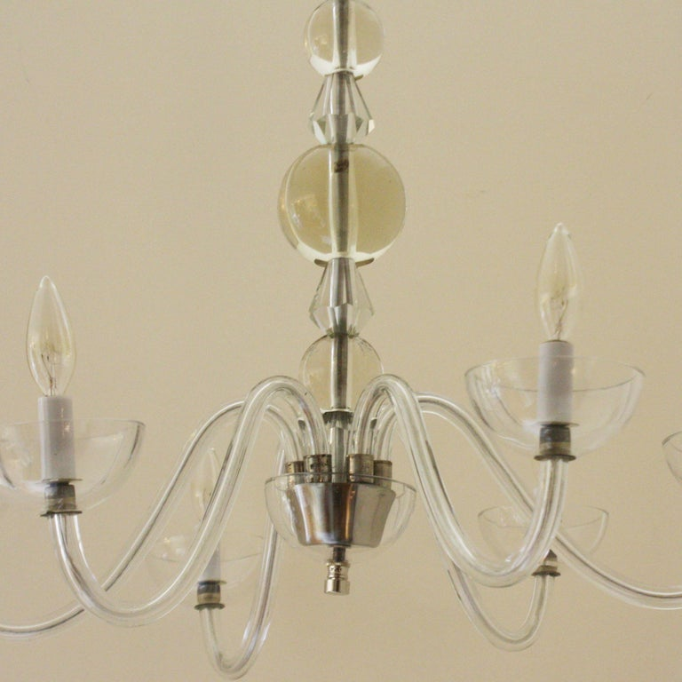 French Chandelier in the Style of Jacques Adnet, circa 1940 In Excellent Condition For Sale In Dallas, TX