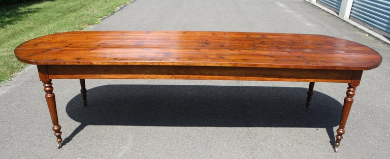 American Craftsman Knotted Pine Planked 'Demi-Ended' Farm Table For Sale