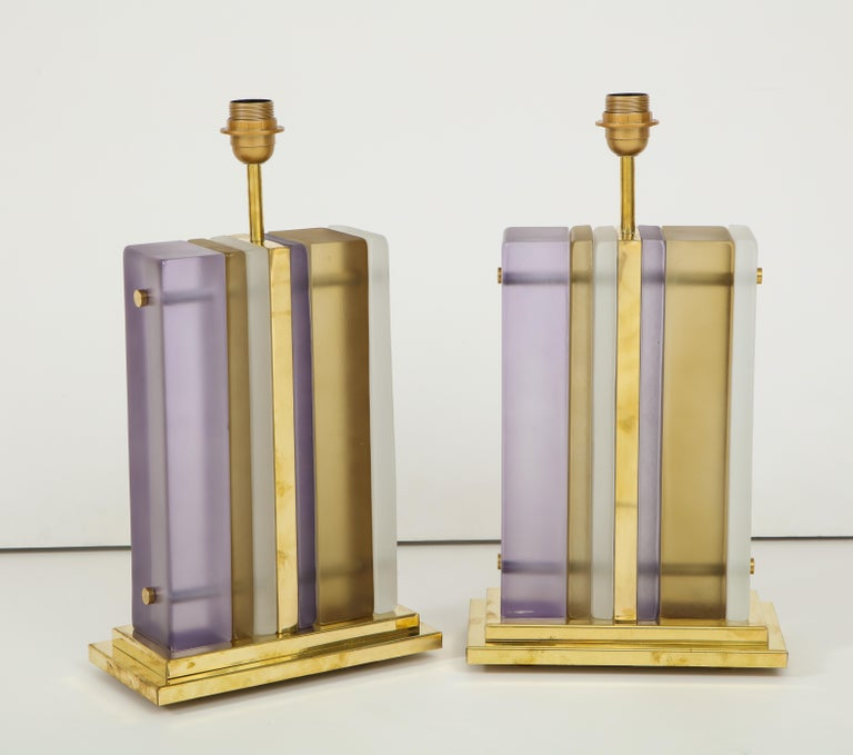 Italian Pair of White, Smoke and Lavender Murano Glass Block and Brass Lamps, Italy For Sale