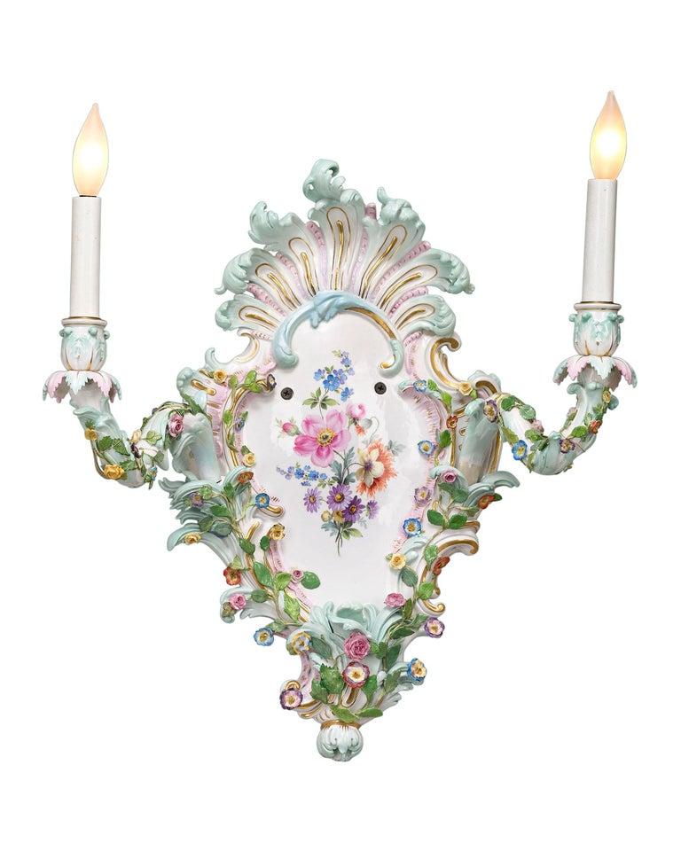 Rococo Meissen Porcelain Wall Sconces For Sale