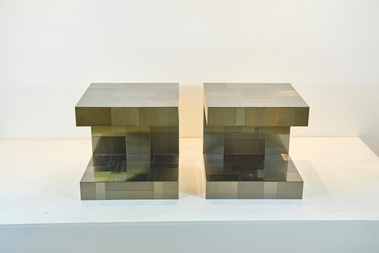 Paul Evans Gunmetal Cityscape End Tables In Good Condition For Sale In Los Angeles, CA