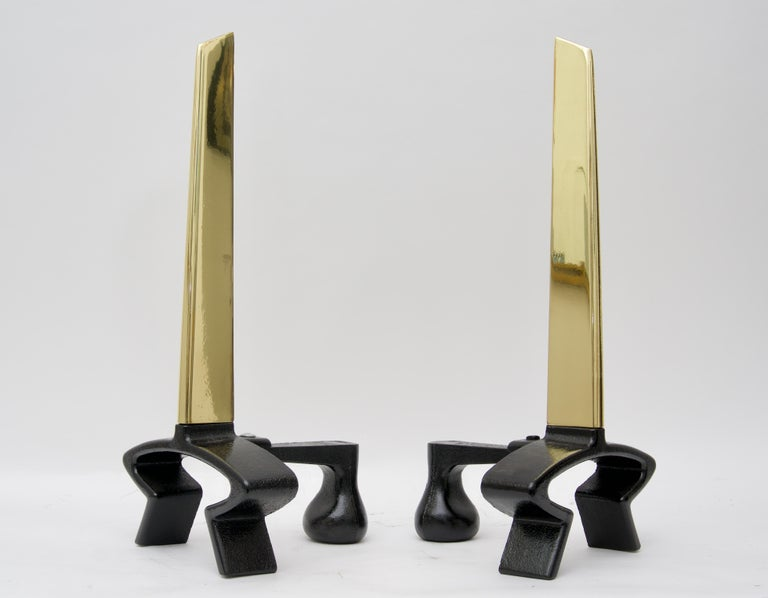 Mid-Century Modern Brass Andirons For Sale