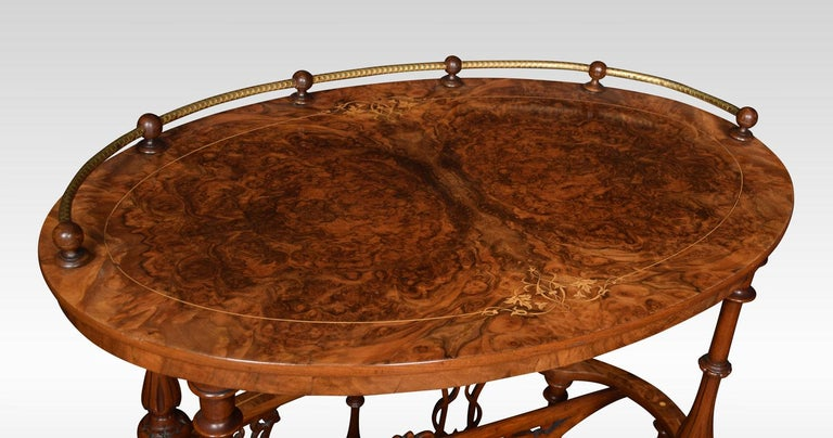 British Walnut and Inlaid Oval Canterbury For Sale