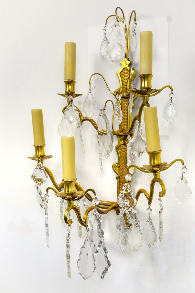 French Double Tier Crystal Candelabra Sconces, Sold Individually In Excellent Condition In San Francisco, CA