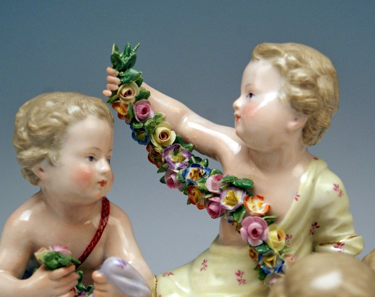 German Meissen Four Seasons Figurines by Kaendler, circa 1850 For Sale