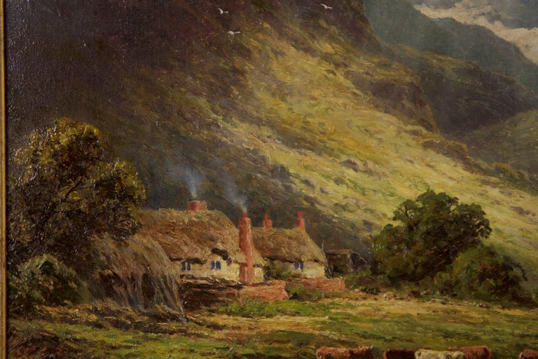 English Henry Parker Oil Landscape Painting of Shepherd's Cottage For Sale