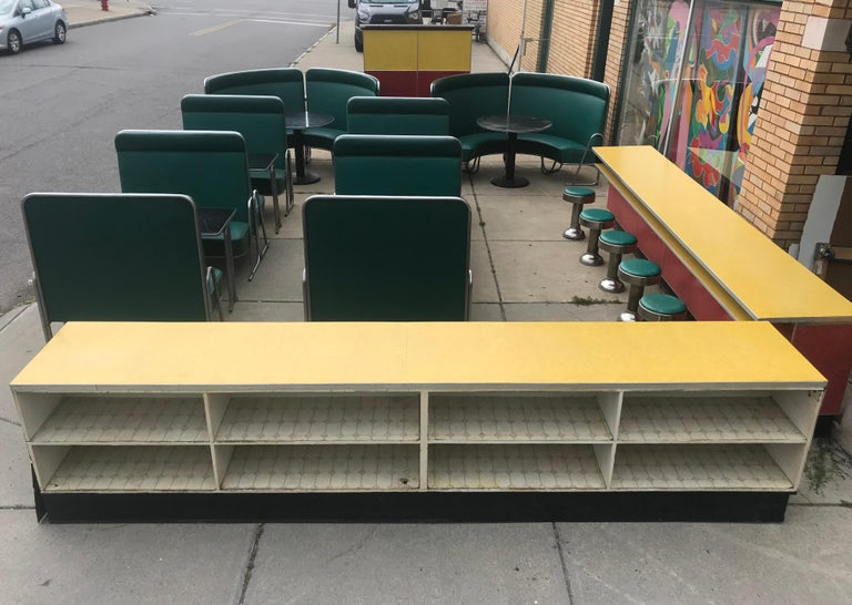 Original Art Deco Diner, Seats 40 Designed by Wolfgang Hoffmann for Howell 1930s In Distressed Condition For Sale In Buffalo, NY