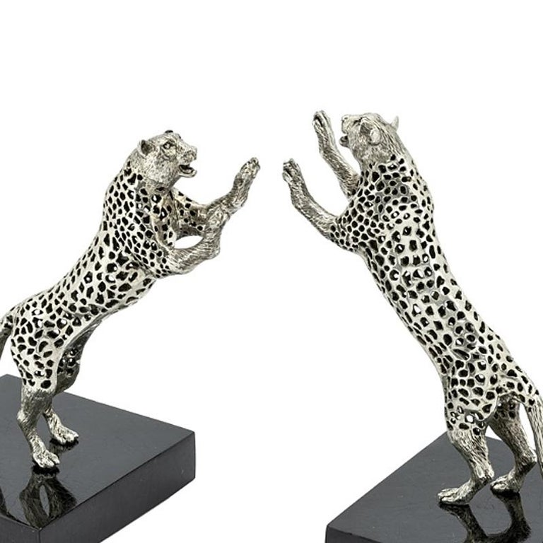 Silvered Leopard Set of Two Bookend in Silver Plated Brass For Sale