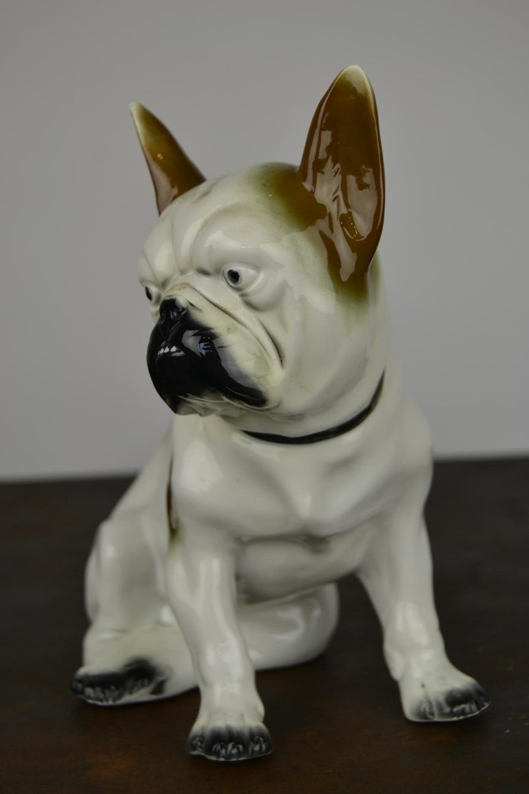 German Art Deco Sitzendorf Porcelain French Bulldog Figurine For Sale