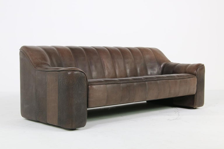 Swiss 1970s Vintage De Sede DS 44 Three-Seat Buffalo Leather Sofa, Brown For Sale