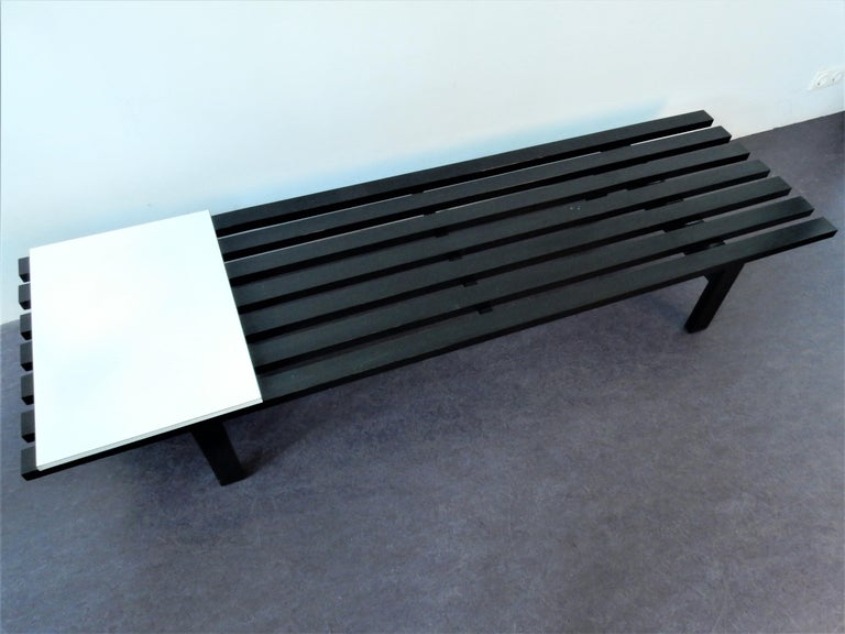 Dutch Black BZ82 Slat Bench with Sliding Shelf by Martin Visser for 'T Spectrum, 1960s For Sale