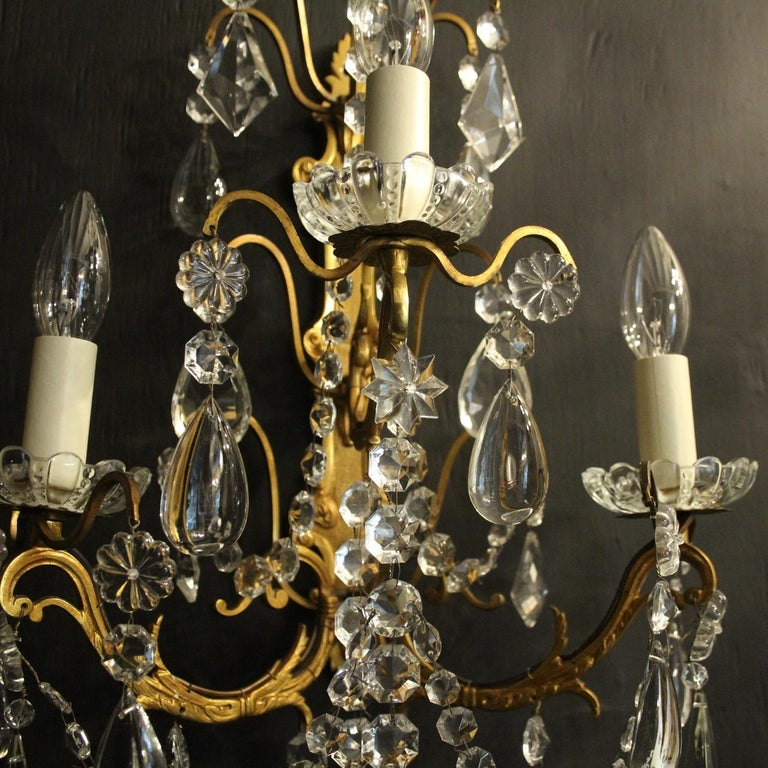 Gilt French Pair Of Gilded Bronze and Crystal Antique Wall Lights For Sale