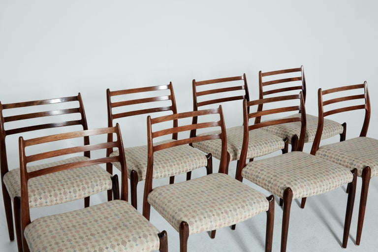 Danish Set of Eight Model 78 Rosewood Chairs by Niels O. Møller, Denmark, 1960s For Sale