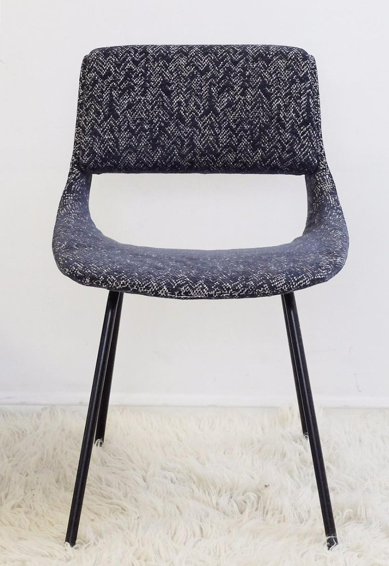 Italian Pair of Chairs by Louis Paolozzi For Zol, New Upholstered For Sale