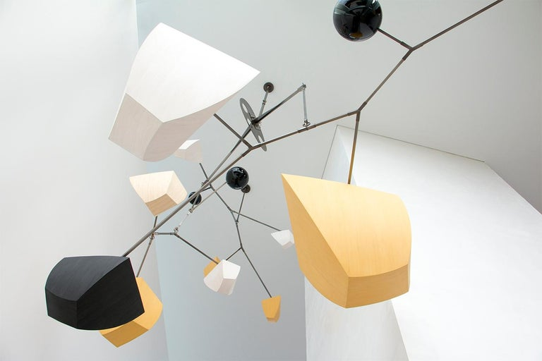 American Bamboo and Brass Mobile Chandelier Custom by Andrea Claire Studio, Handmade For Sale