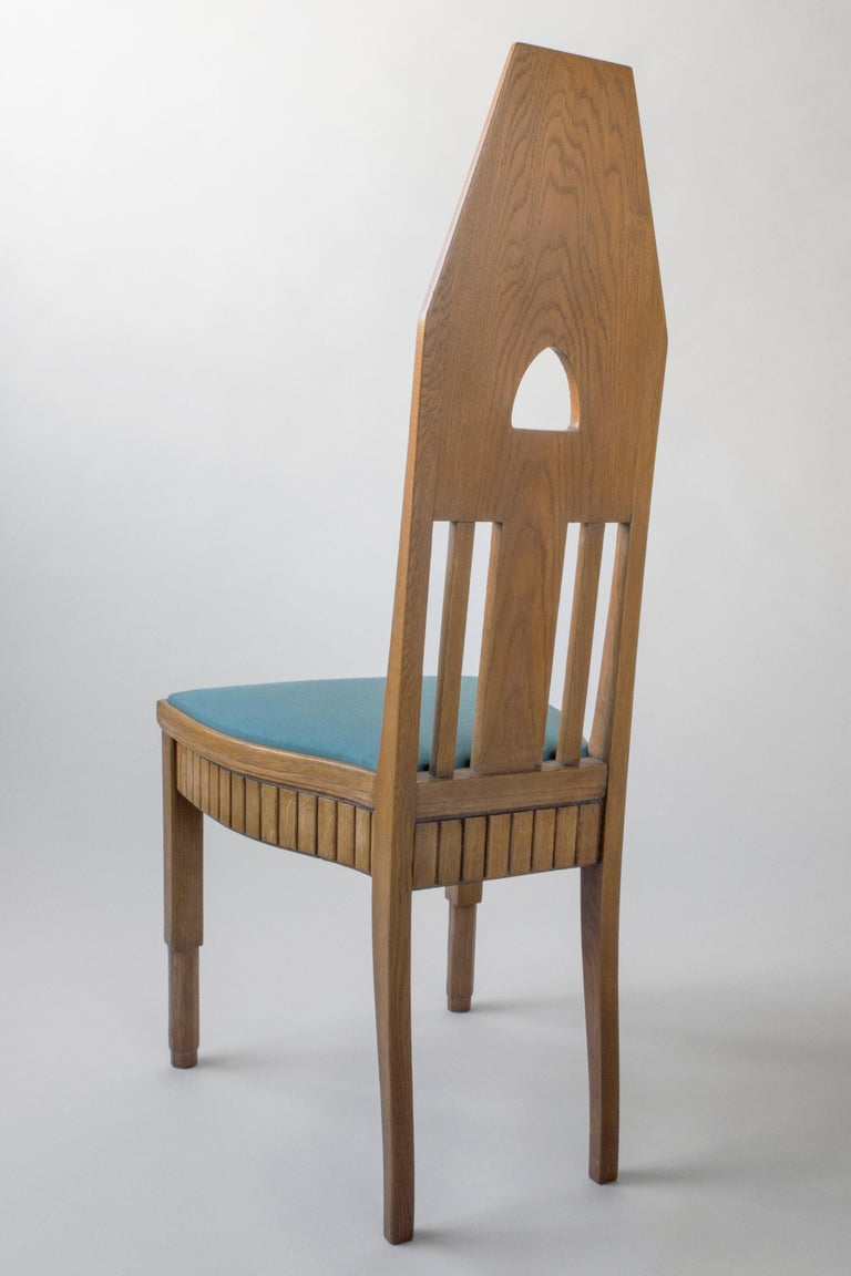Set of Finnish Intricately Carved High Back Oak Jugend Chairs, Six Available In Good Condition For Sale In Philadelphia, PA