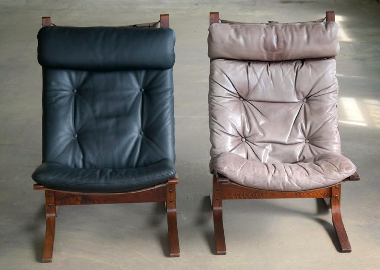 Norwegian Pair of Leather Easy Chairs Model