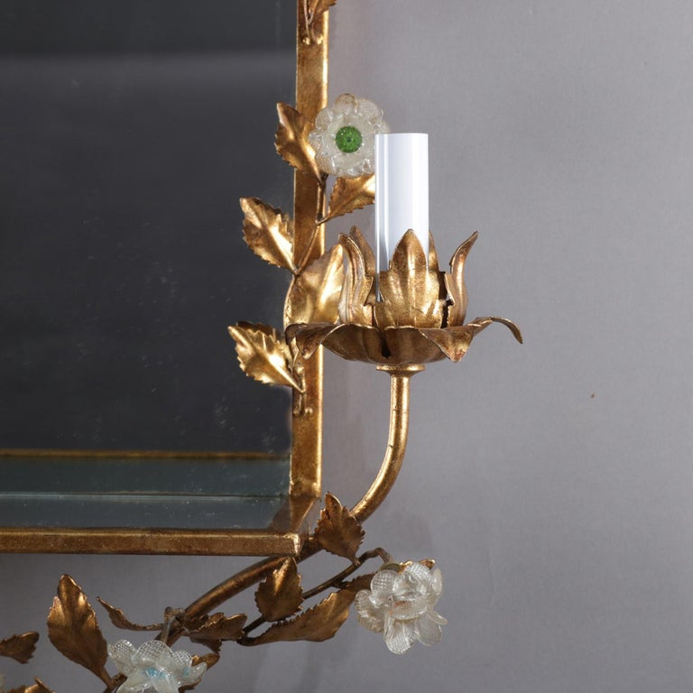 Vintage Italian Gilt Foliate & Crystal Double Candle Light Sconce Display In Good Condition For Sale In Big Flats, NY