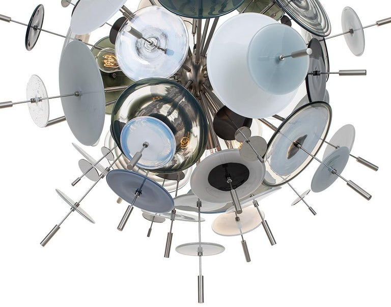 American Confetti Glass Black and White Chandelier by Avram Rusu Studio For Sale