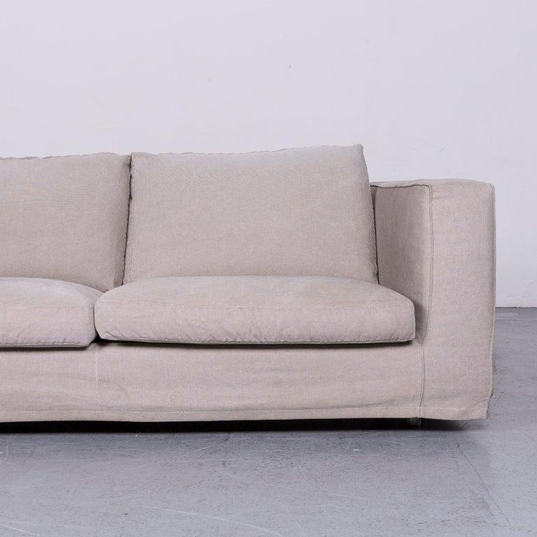 German B&B Italia Basiko Fabric Sofa Grey Two-Seat Couch