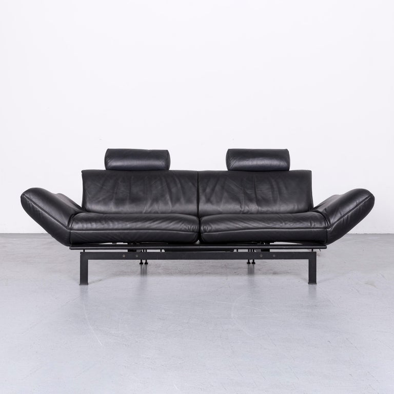 De Sede Ds 140 Designer Leather Sofa Black Three-Seat Function Modern In Excellent Condition In Cologne, DE