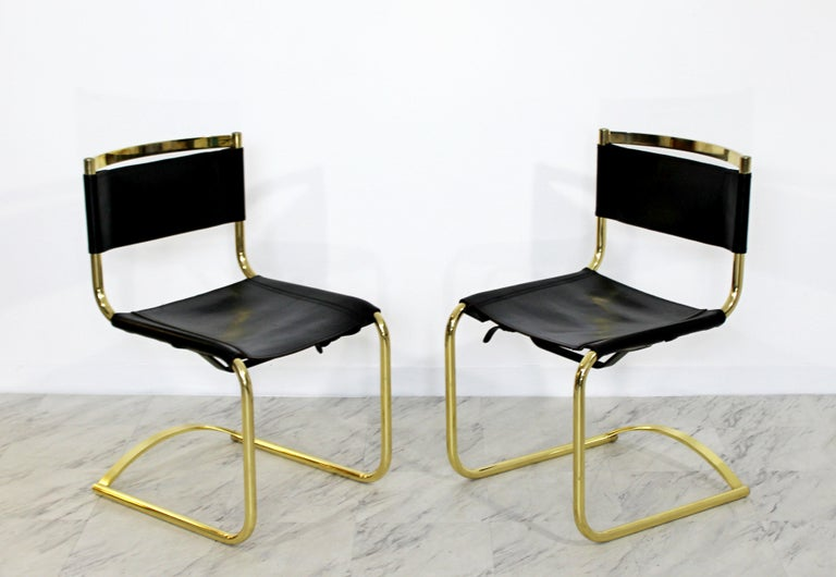 4a6f0a4a8965 Mid-Century Modern 8 Brass Black Leather Side Dining Chairs Breuer Mies Era  In Good