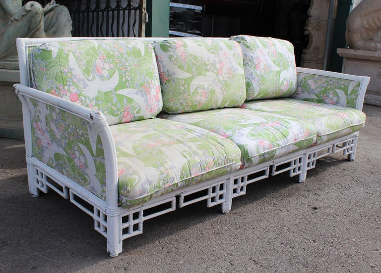 20th Century 1980s Spanish Bamboo Three-Seat Sofa with Original Upholstery For Sale