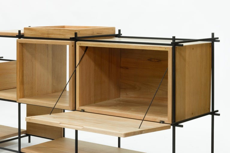 Sideboard in Hardwood and Steel, Brazilian Contemporary Design by O Formigueiro For Sale 1