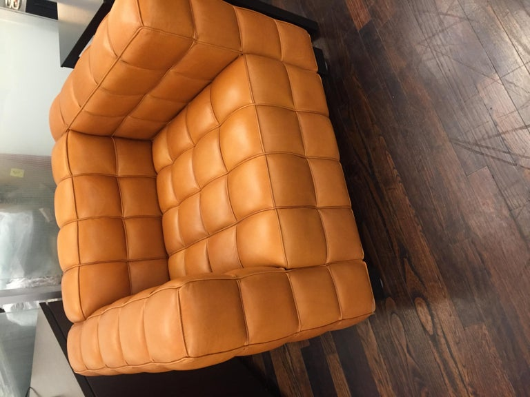 Austrian Natural Leather Kubus Design by Josef Hoffmann For Sale
