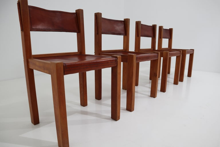 French Four Midcentury Wood and Leather Dining Chairs For Sale