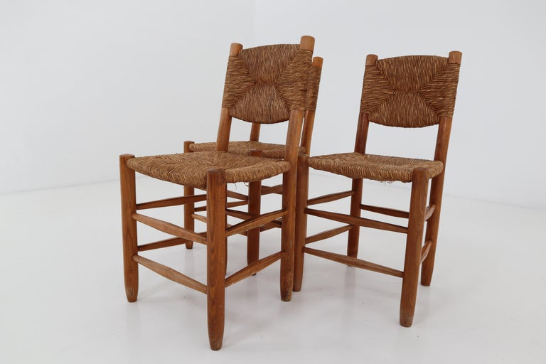 "French Three ""Bauche"" Chairs by Charlotte Perriand for Steph Simon, France 1950s For Sale"