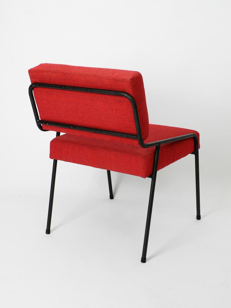 1950s Heavy Black Metal Chair Reupholstered Made in Czech Republic In Good Condition For Sale In München, DE