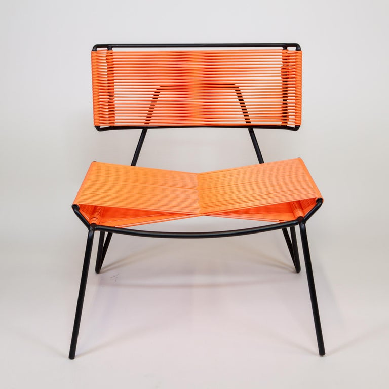 Handmade Midcentury Style Outdoor Lounge Chair, Charcoal with Coral PVC in Stock In New Condition In West Hollywood, CA