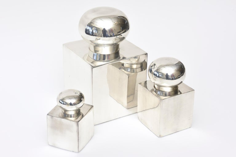 European Set of 3 Italian Vintage Silver-Plate Square Sculptural Boxes / Objects For Sale