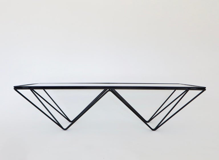 Italian Black Steel and Glass Coffee Table in The Style of Paolo Piva Alanda Table