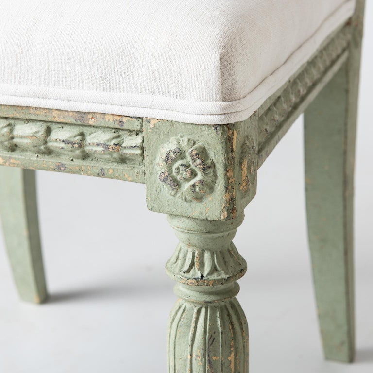 19th Century Pair of Swedish Gustavian Period Side Chairs in Old Green Paint, circa 1800 For Sale