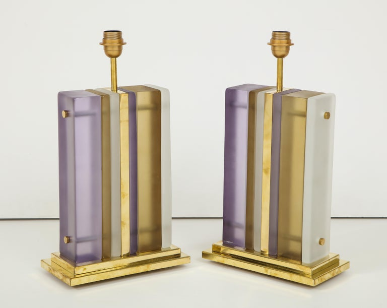 Hand-Crafted Pair of White, Smoke and Lavender Murano Glass Block and Brass Lamps, Italy For Sale
