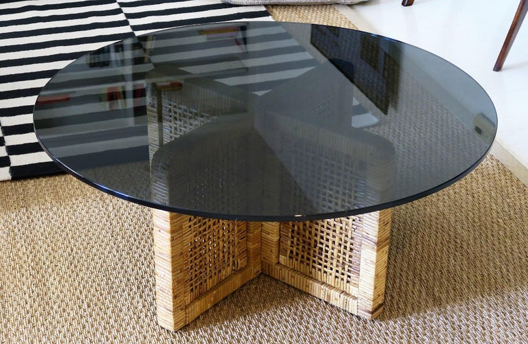 Italian Woven Bamboo/Rattan Round Coffee Table, Smoked Glass Top, Italy, 1960s For Sale
