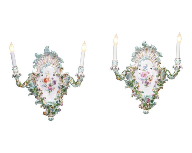 German Meissen Porcelain Wall Sconces For Sale
