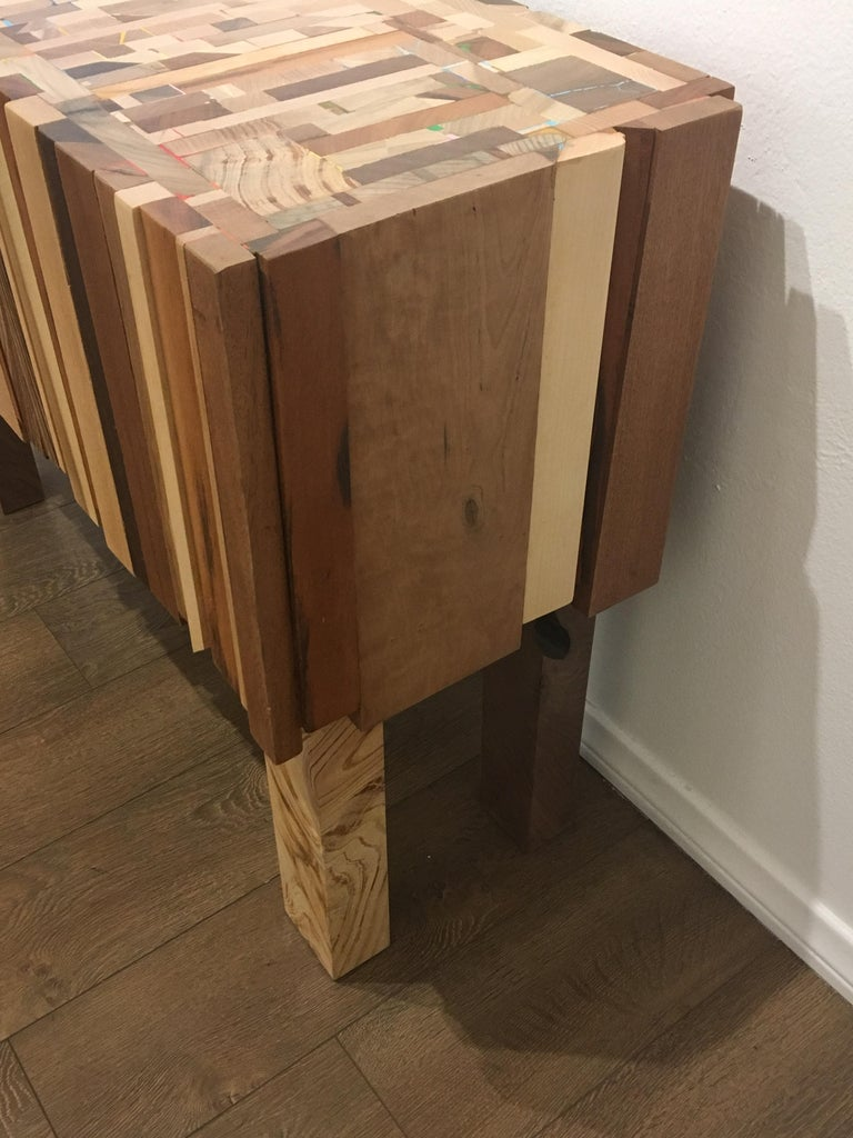 Mixed Wood and Acrylic Paint Table by Artist Ben Darby In New Condition For Sale In San Diego, CA